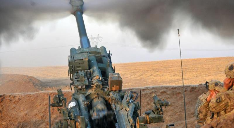 US Army 1st Battalion, 320th Field Artillery Reg, Task Force Strike, 101st Airborne Div, fire support for Iraqi army, 13 Aug 2016, Northern Iraq, by Lt Dniel Johnson (US Army)]