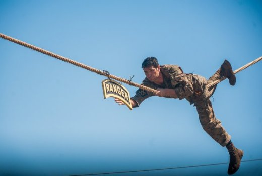 US Army 75th Ranger Regiment, Mst Sgt Josh Horsager at 2017 Best Ranger Competition, Ft Benning, 7-9 April (US Army)