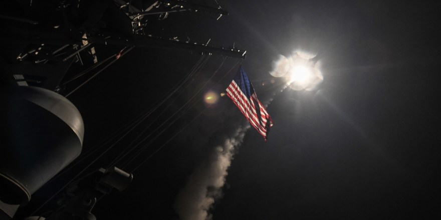 US Navy USS Porter launches Tomahawk missile at Syrian air base, 7 April 2017, by Kyle Soard (DVIDS)