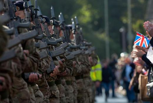 British Army 22 Engineer Regiment, marching through Andover, Hampshire (Crown Copyright, 2013)