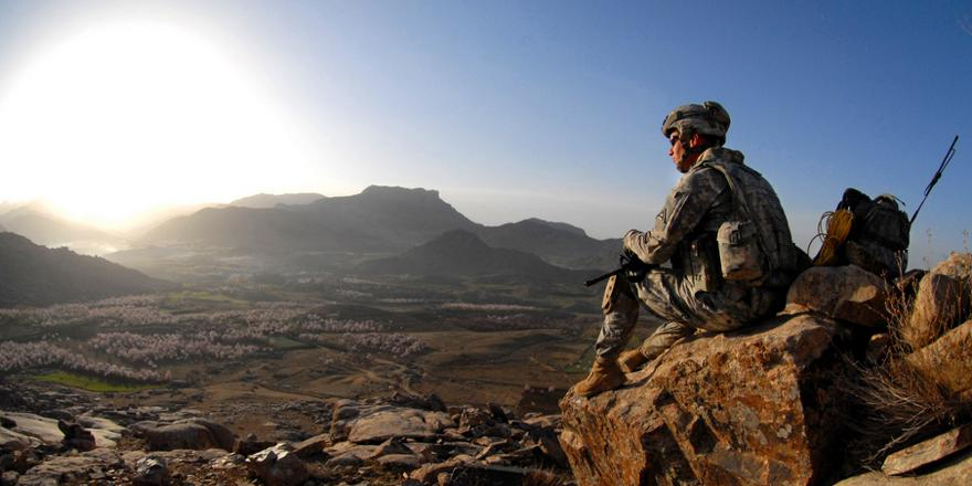 US Army 4th Infantry Reg, 1st Battalion, Bravo Coy, Sgt Robert Newman, sunrise after patrol near Forward Operating Base Baylough, Zabul, Afghanistan, 19 March 2009, by Adam Mancini [880x440]