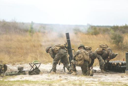 US Marine Corps, Task Force Southwest, 81mm mortar training before deployment to Helmand, Afghanistan, by Sgt Lucas Hopkins (02 March 2017)