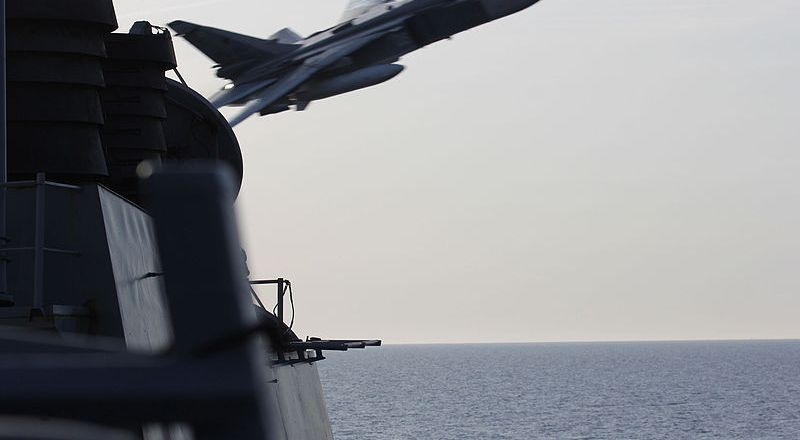 US Navy USS Donald Cook, a Russian Sukhoi Su-24 makes a low-altitude pass in the Baltic Sea, 12 April 2016 [2] [800px]