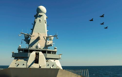 RAF Typhoons flying over Royal Navy HMS Duncan, Black Sea (Crown Copyright, 2017)