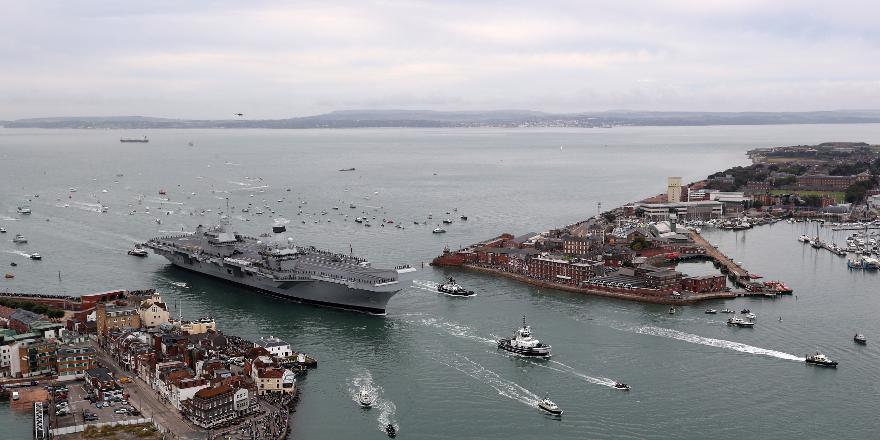 Royal Navy HMS Queen Elizabeth arriving in Portsmouth 16 August 2017 (Crown Copyright, News Licence)