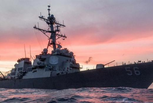 US Navy USS John S McCain, on patrol South China Sea 22 Jan 2017 (US DOD, 2017)