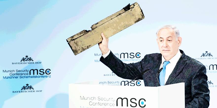 Munich Security Conference, 2018, Israeli Prime Minister Benjamin Netanyahu with Iranian Drone (MSC, Preiss, 2018)