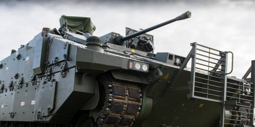 British Army AJAX Armoured Vehicle at a 3 Div Combined Arms Manoeuvre Demonstration held at Knighton Down, Salisbury Plain Training Area (Crown Copyright, 2016)