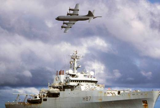 HMS Echo with Orion Maritime Patrol Aircraft