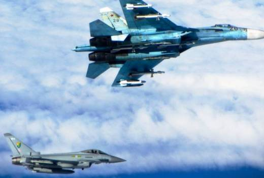 RAF 3 (Fighter) Squadron Typhoon intercepts Russian Su-27 Flanker (Crown Copyright, 2014) [880]