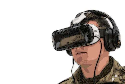 British Army Reserve virtual reality training with Oculus Rift headset by Sgt Rupert Frere (Crown Copyright, 2015)