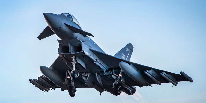 RAF Typhoon with Meteor missiles, RAF Lossiemouth QRA (Crown Copyright, 2018)