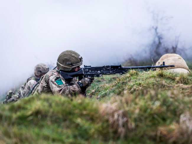 British Army Parachute Regiment 3rd Battalion (3 PARA) C Company on Exercise Yellow Assault STANTA, soldier with General Purpose Machine Gun (Crown Copyright, 2019, News licence) [650]