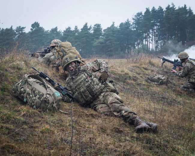 British Army Parachute Regiment 3rd Battalion (3 PARA) C Company on Exercise Yellow Assault STANTA, soldiers practice infantry skills (Crown Copyright, 2019, News licence) [650]