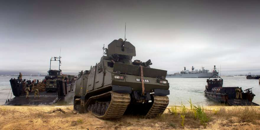 Royal Navy Marines beach landing using Landing Platform Dock ships and Viking armoured vehicles from Assault Ship HMS Bulwark, NATO Exercise Trident Juncture (Crown Copyright, 2015)