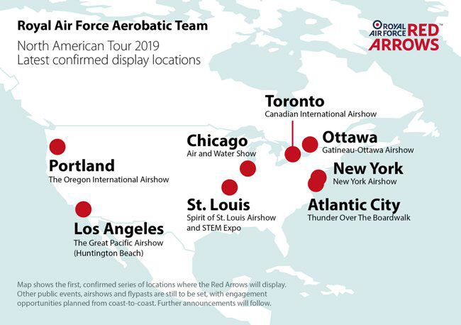 RAF Red Arrows USA Canada Tour Locations Map 2019 (Crown)[650]