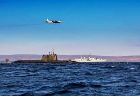 Royal Navy HMS Kent, HMS Ambush and a German P3C Orion on Exercise Joint Warrior (Crown Copyright, 2019)