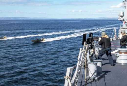 US Navy small craft attack exercise aboard the Arleigh Burke-class guided-missile destroyer USS Carney (DDG 64), exercise Joint Warrior 19-1 (March 31, 2019)