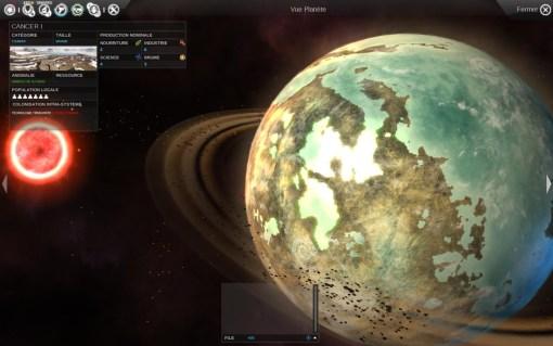 La vue détaillée d'une planète, ici en orbite autours d'une naine rouge. Les planètes sont variées et leur caractéristiques et anomalies sont représentées graphiquement.