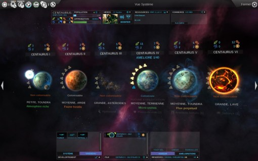 L'écran de système planétaire, avec en bas la file de construction.