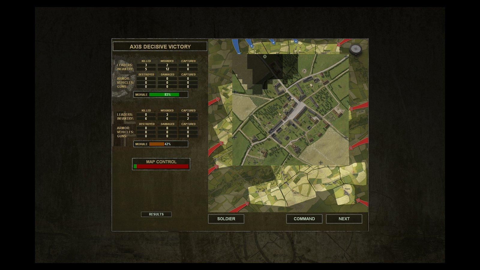 Débriefing: Les Allemands sont parvenus à défendre Cheux et affichent peu de pertes.