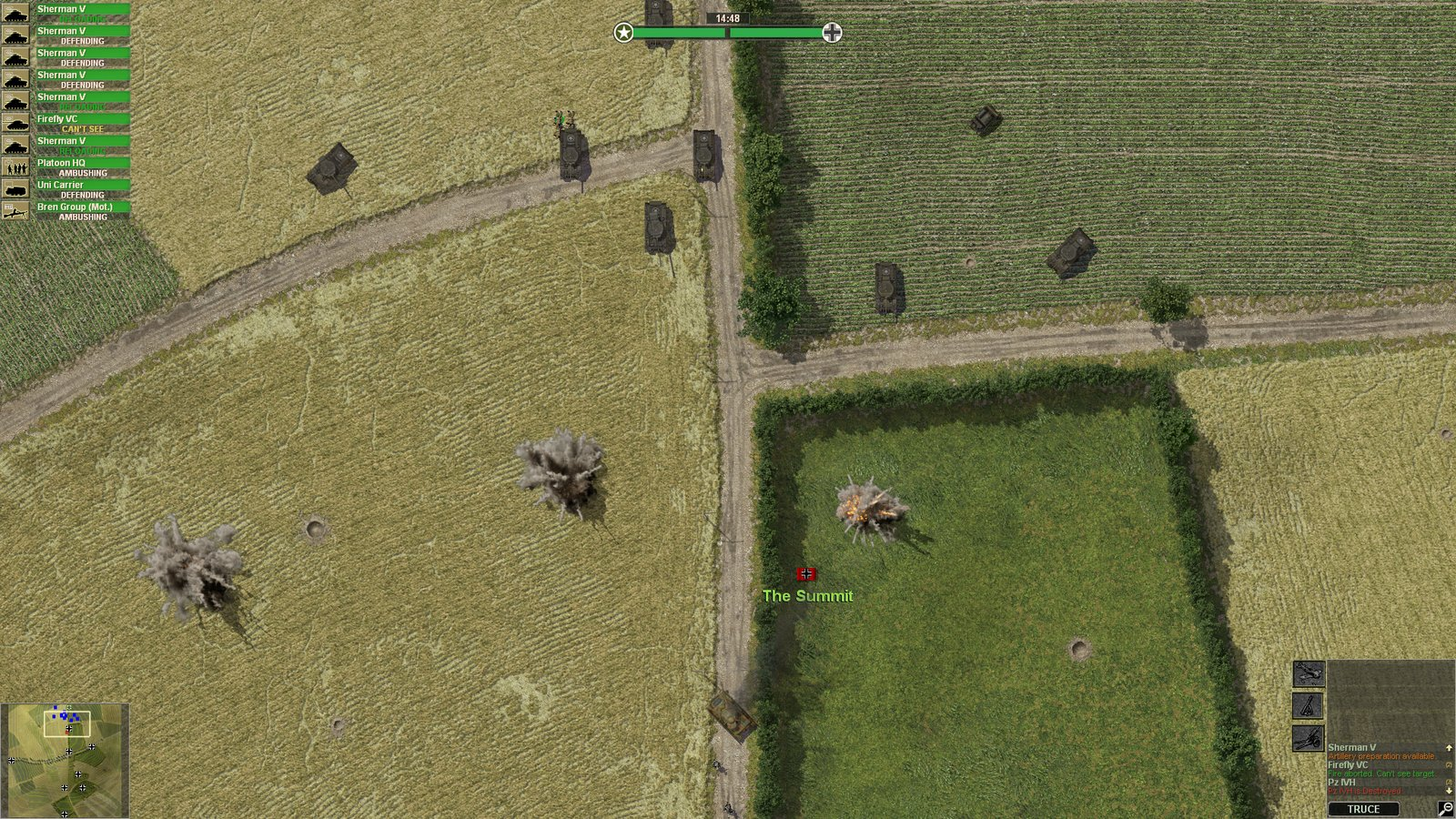 Les blindés Sherman britanniques atteignent le sommet de la colline 112 sous un tir nourri d'artillerie.