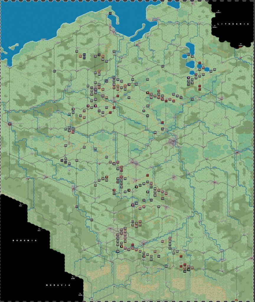 T. 5 – Pluie. Près du centre les allemands campent devant les fortifications polonaises bloquant la route nord vers Varsovie.