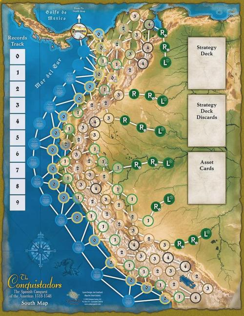 The Conquistadors: The Spanish Conquest of the Americas – 1518-1548 - Compass Games - map