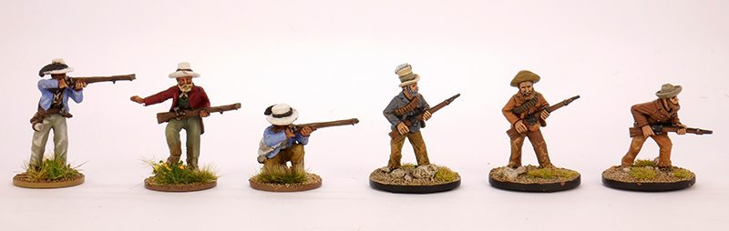 Boer figure comparison - the three figures on the left are Perry Miniatures, the three on the right are from Empress.