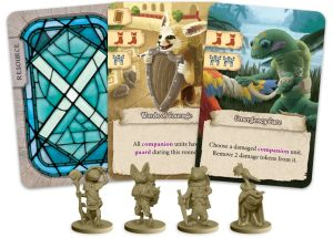 Miniaturas y cartas, arte diseñado por el propio Sami Laakso, el autor e ilustrador de El Valle de los Mercaderes