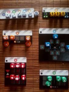 Space Cadets Dice Duel Tableros de control de los sistemas de la nave