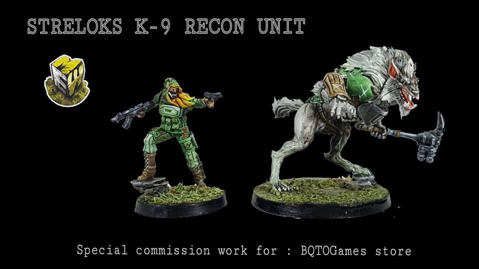 Infinity Operation: Coldfront Advance Pack, Ariadna Sectorial TAK, K-9 Recon Unit pintado por Miniaturas Estadio Wargame para BQTO Games