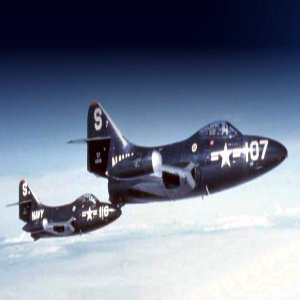 F9F Panthers flying over Korea, c. 1951; 116 was piloted by Neil Armstrong.