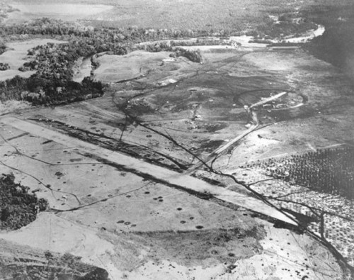 A photo of Henderson Field in late August 1942, shortly after it was taken by the Allies