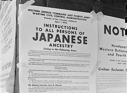 This photo of Executive Order 9066, also called the Exclusion Order, was taken on First and Front Streets in San Francisco, California on 11 April 1942