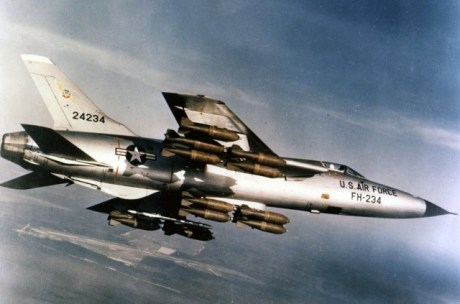 A Republic F-105D-30-RE Thunderchief armed with M117 750 lb bombs