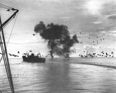 Japanese air attack off Guadalcanal via commons.wikimedia.org