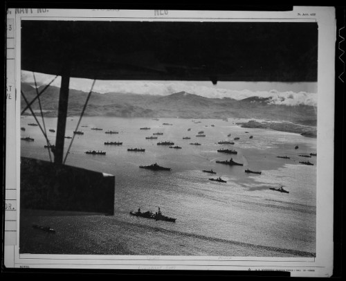 Part of the huge U.S. fleet at anchor, ready to move against Kiska.