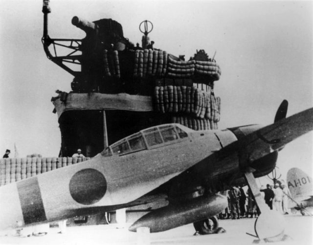 An Imperial Japanese Navy Mitsubishi A6M Zero fighter on the aircraft carrier Akagi.