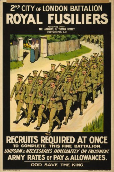 A 1915 recruitment poster for 2nd City of London Battalion, Royal Fusiliers.