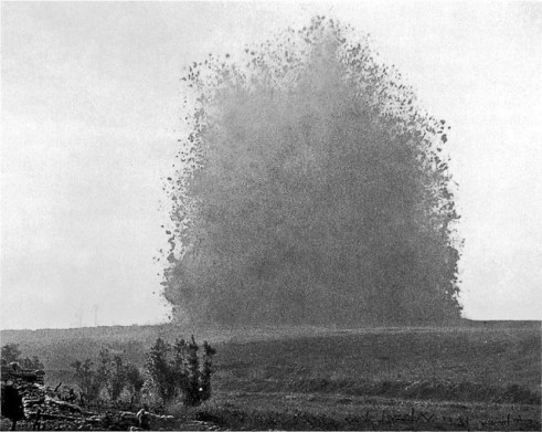 One of Ernest Brooks photographs of the Hawthorne Ridge explosion in the Somme.