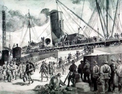 Newly Arrived Troops Debarking at Brest by Walter Jack Duncan. U.S. Army Center of Military History/Walter Jack Duncan/Public Domain