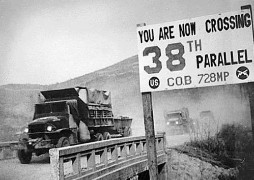 Soldiers crossing the 38th parallel via commons.wikimedia.org Public Domain