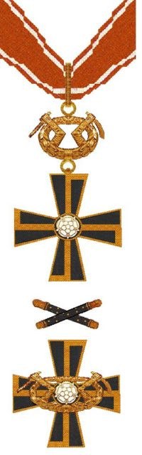 Mannerheim Cross of the Order of the Cross of Liberty. The one above is 1st Class, while that below is 2nd Class
