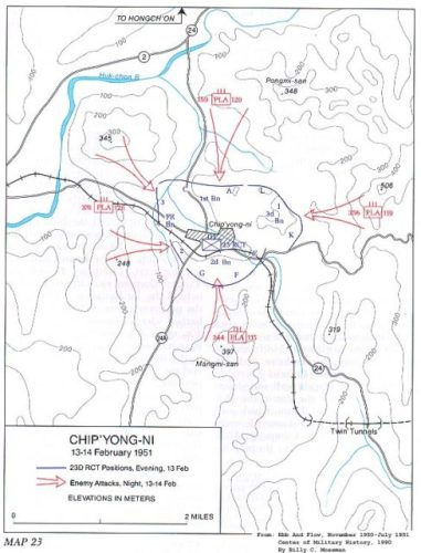 Map of the Battle of Chipyong-ni. Public domain