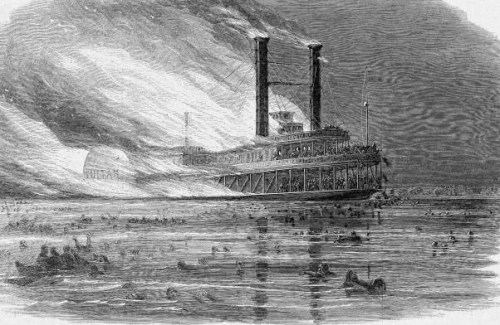 The Sultana on fire, from Harpers Weekly.