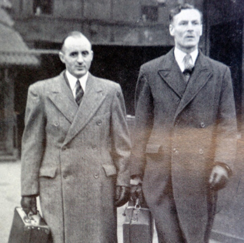 William O'Callaghan (left) and Albert Pooley arriving at the War Crimes Court in Hamburg Photo Credit