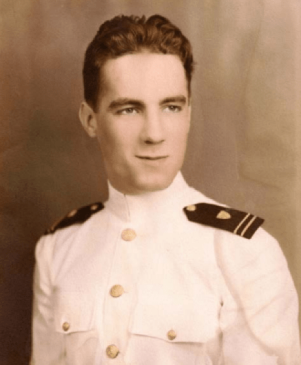 Charles Dorian as a young Cadet at the US Coast Guard Academy. He was one of only two Academy graduates on the Callaway, the Captain was the other. This meant that he had training in almost every function aboard ship, allowing him to operate so effectively when the command was out of commission. Image Source: USCG.mil/ Public Domain