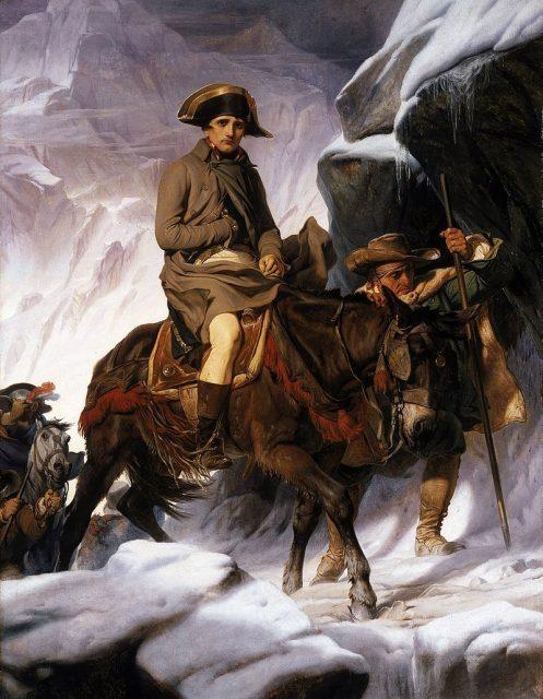Bonaparte Crossing the Alps, realist version by Paul Delaroche from 1848.