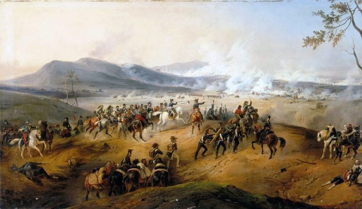 Battle of Castiglione. Under the command of Napoleon, Marmont brings artillery onto Mount Medolano while Augereau's division begins the attack in the central plain.